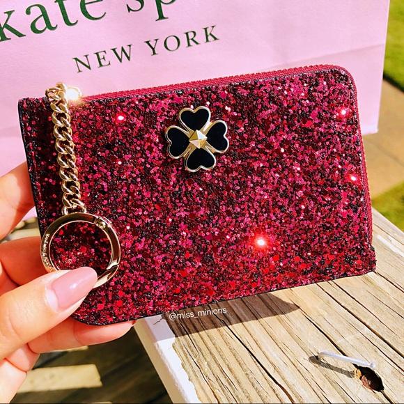 Kate Spade New York Odette Glitter Medium L-Zip Card Holder